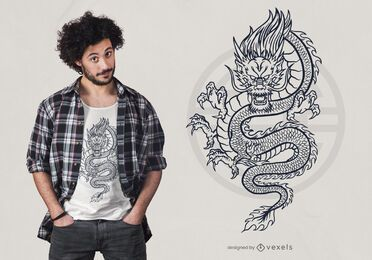 Desenho de t-shirt de dragão mítico desenhado à mão