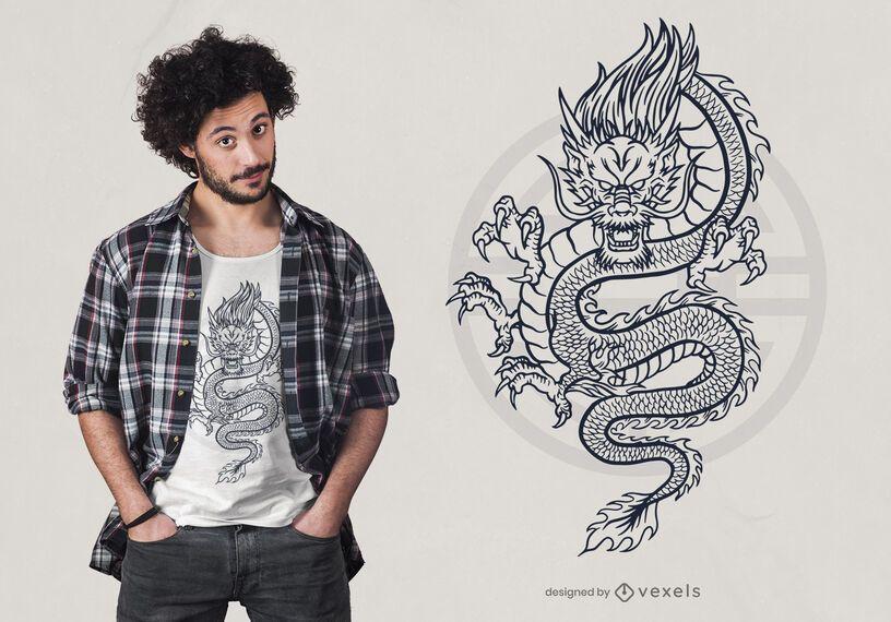 Diseño de camiseta dragón mítico dibujado a mano