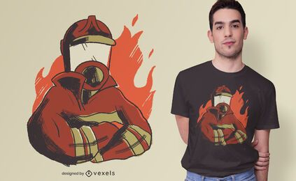 Design de camisetas do Firefighter Flames