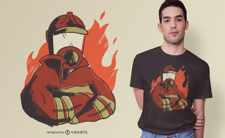 Diseño de camiseta de llamas de bombero.