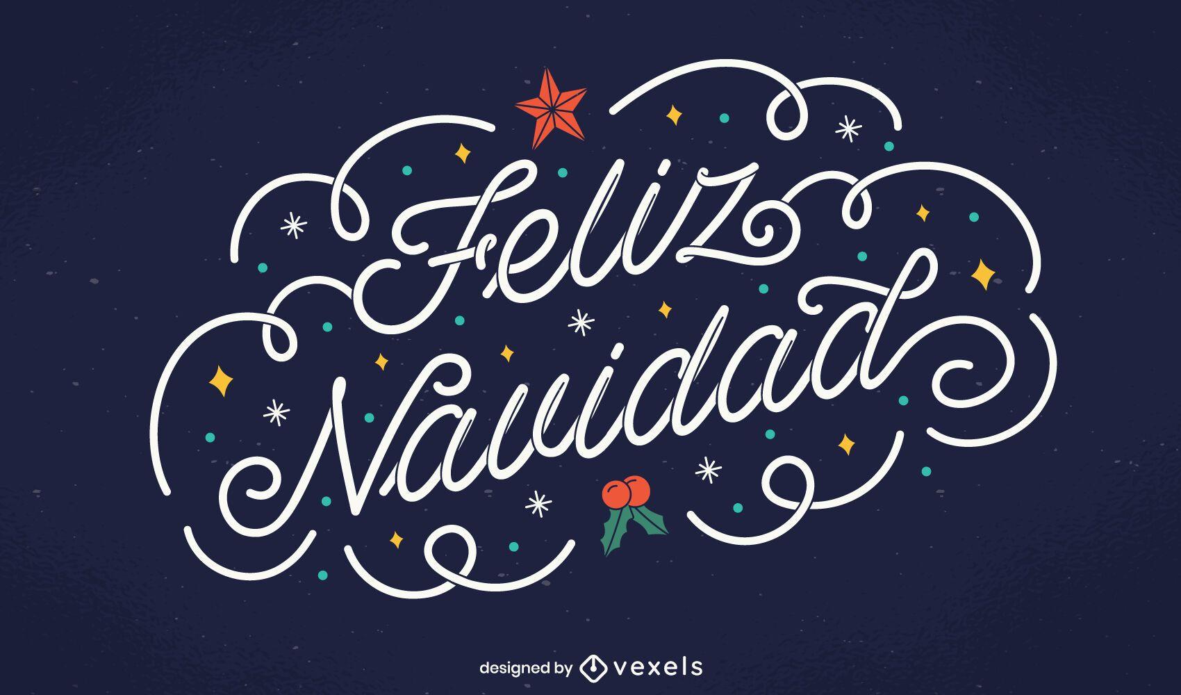 Feliz Navidad Lettering Design