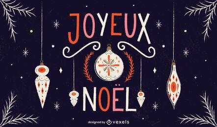 Französisches Weihnachtstextdesign