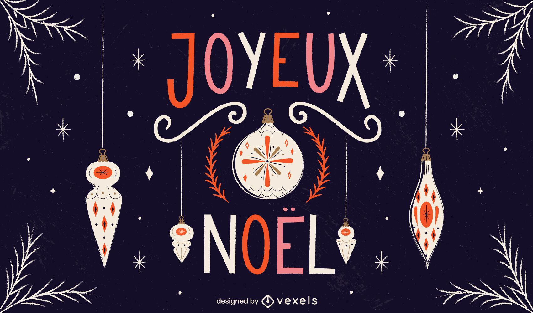 Design de texto de natal francês