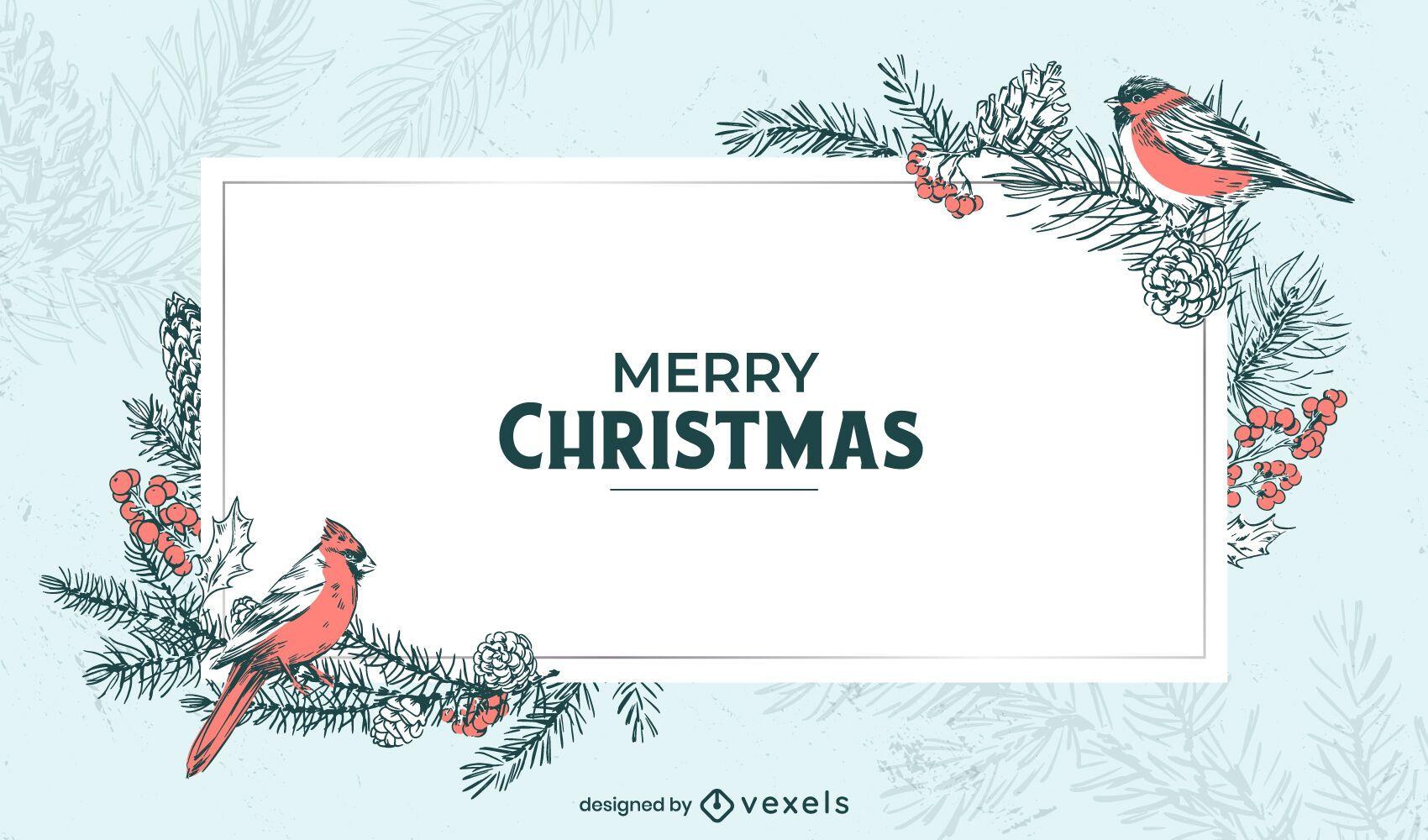 Merry christmas winter background design