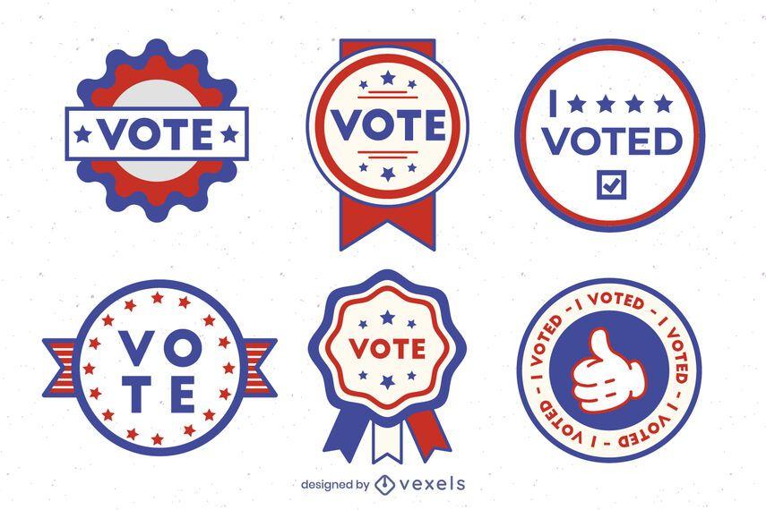 Conjunto de crachá Vote EUA