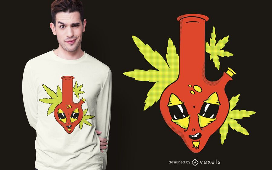 Diseño de camiseta alien bong