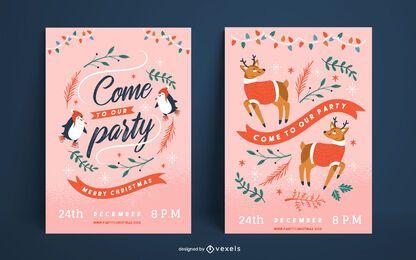 Conjunto de cartel lindo fiesta de navidad