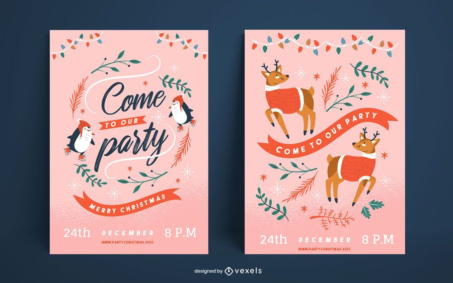 Christmas party cute poster set