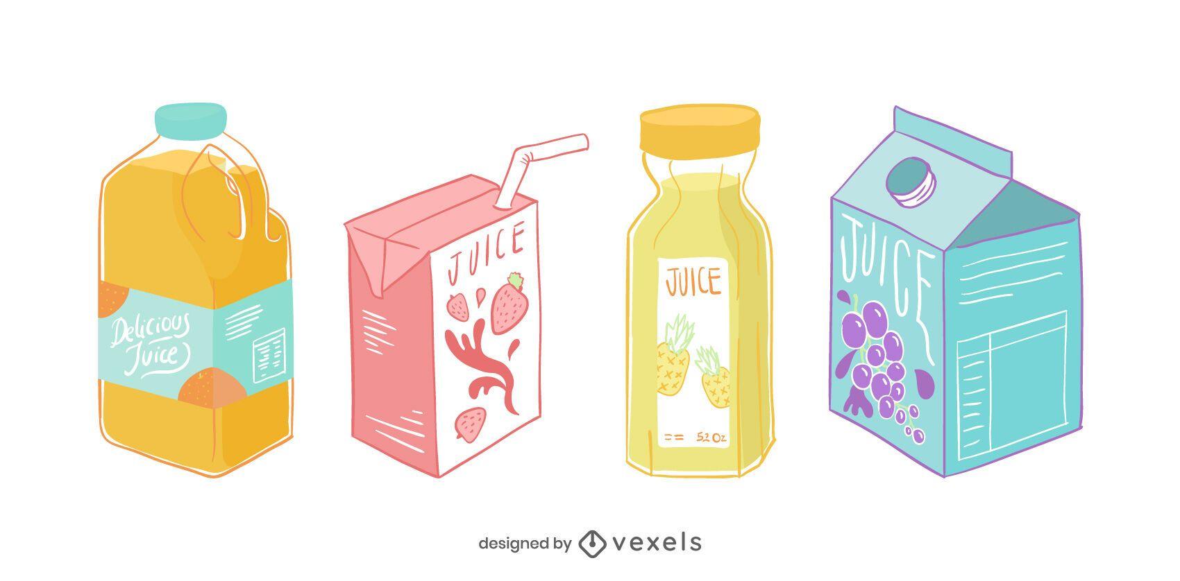 Juice pack illustration set