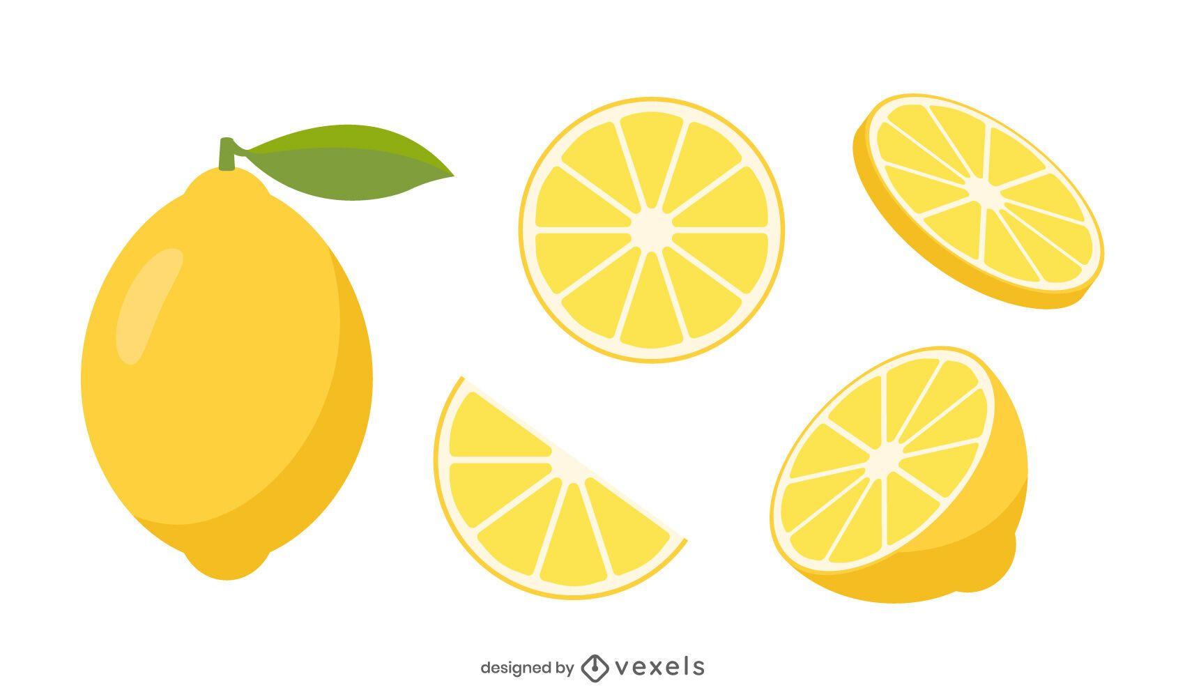 Lemon slices vector set