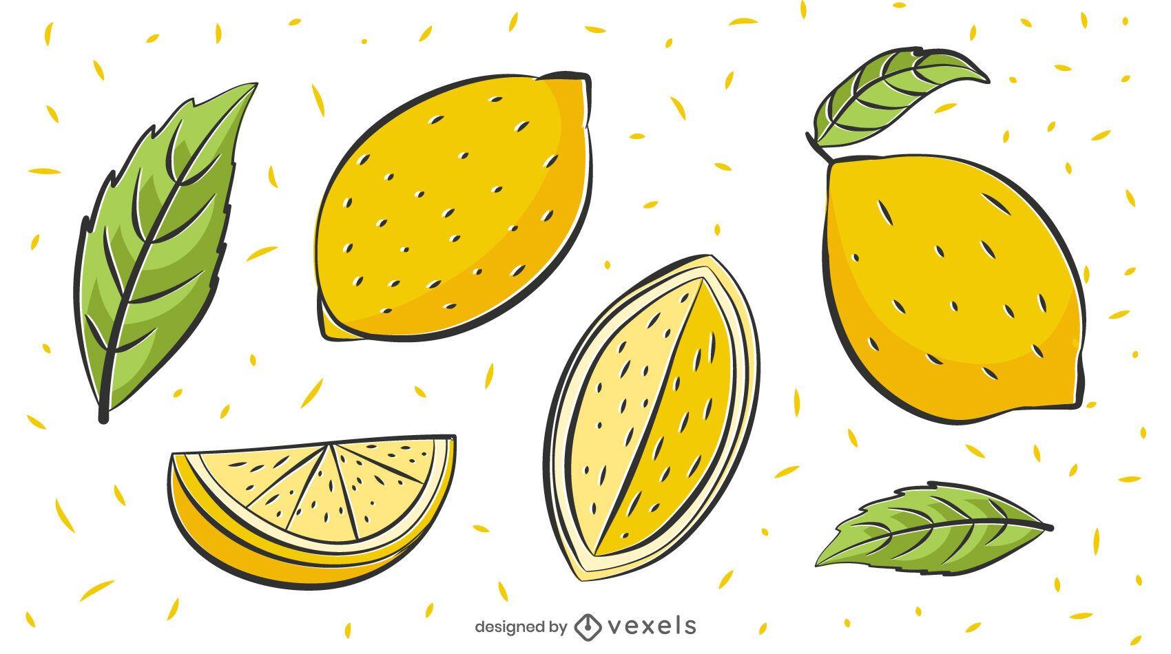 Lemons illustration set