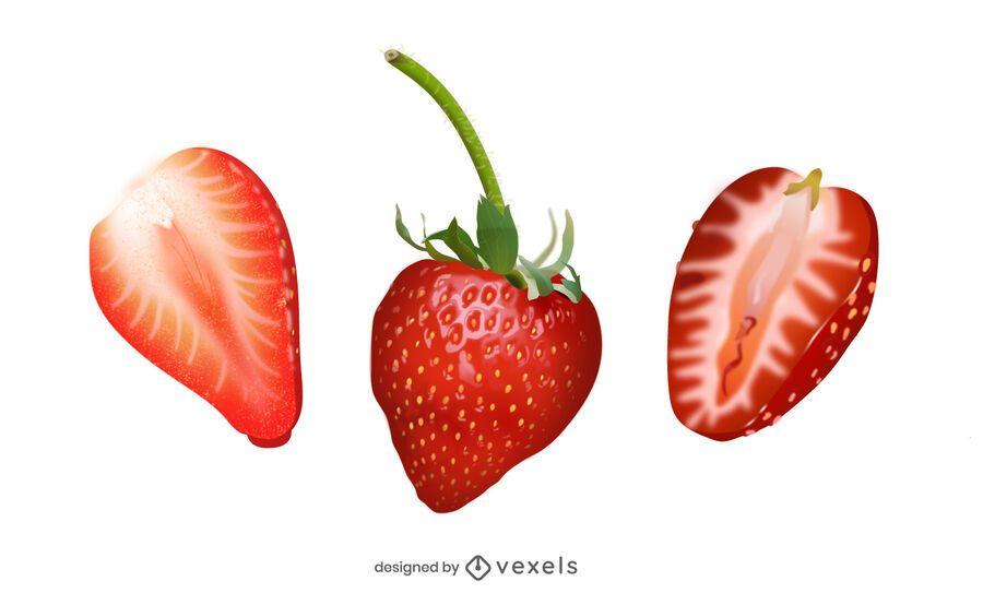 Realistic strawberry illustration set