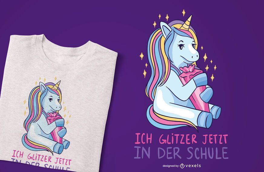 Schule Einhorn deutschen T-Shirt Design