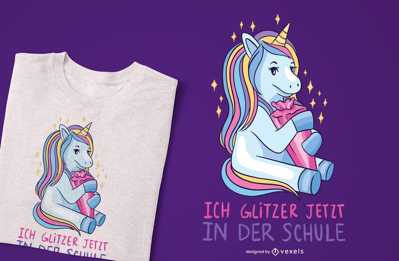 School unicorn german t-shirt design