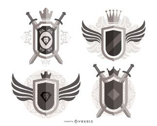 Verzierte heraldische Schilde