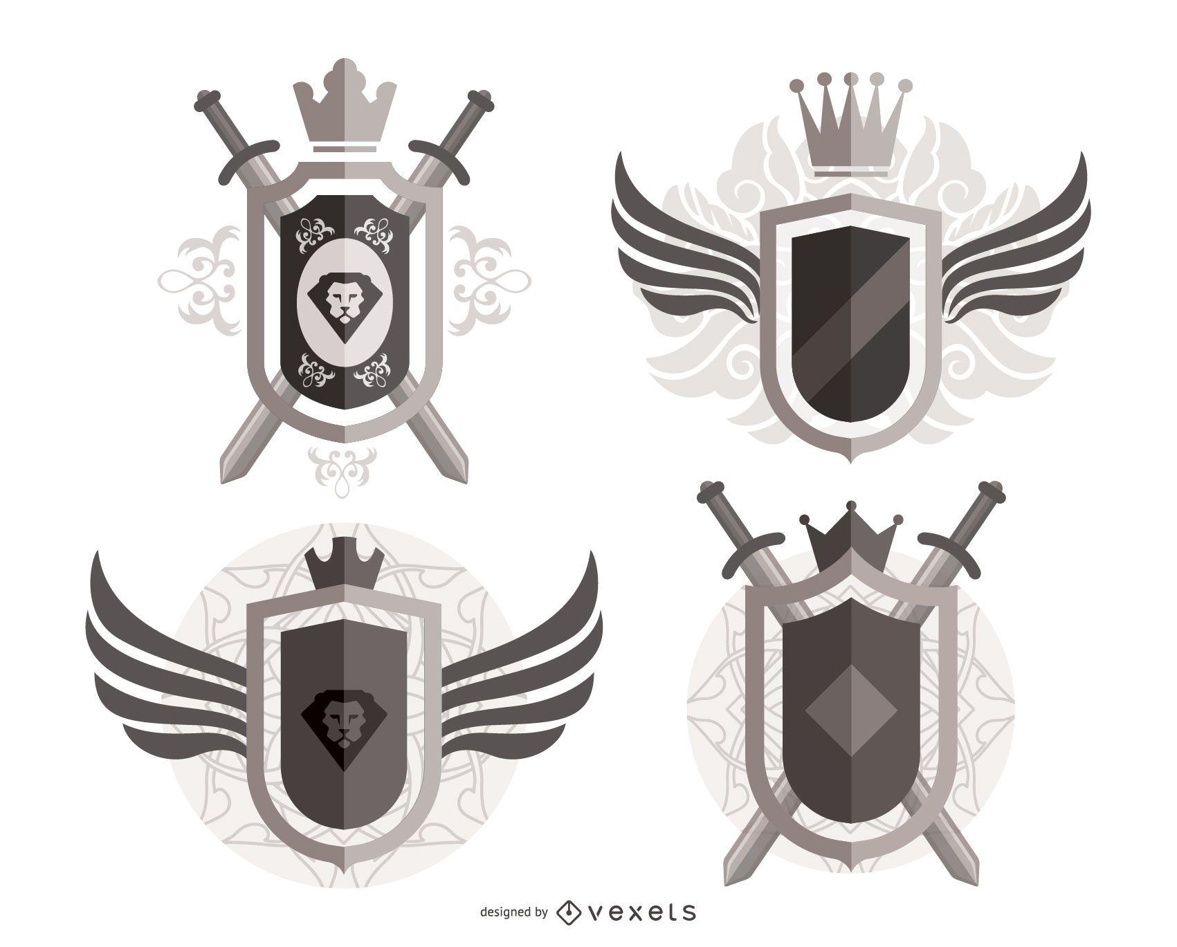 Escudos heráldicos ornamentados