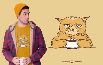 Diseño de camiseta Grumpy Coffee Cat
