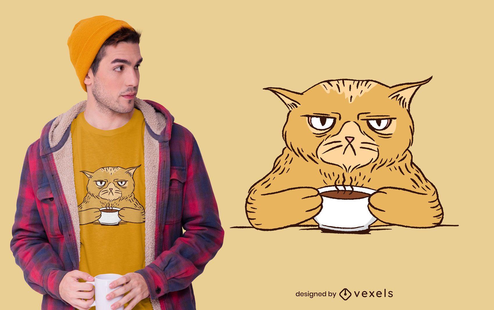 Diseño de camiseta Grumpy Coffee Cat