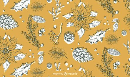 Christmas nature hand drawn pattern