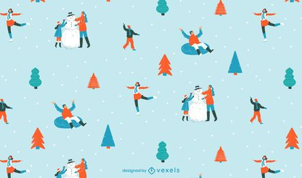 Christmas ice skating pattern design