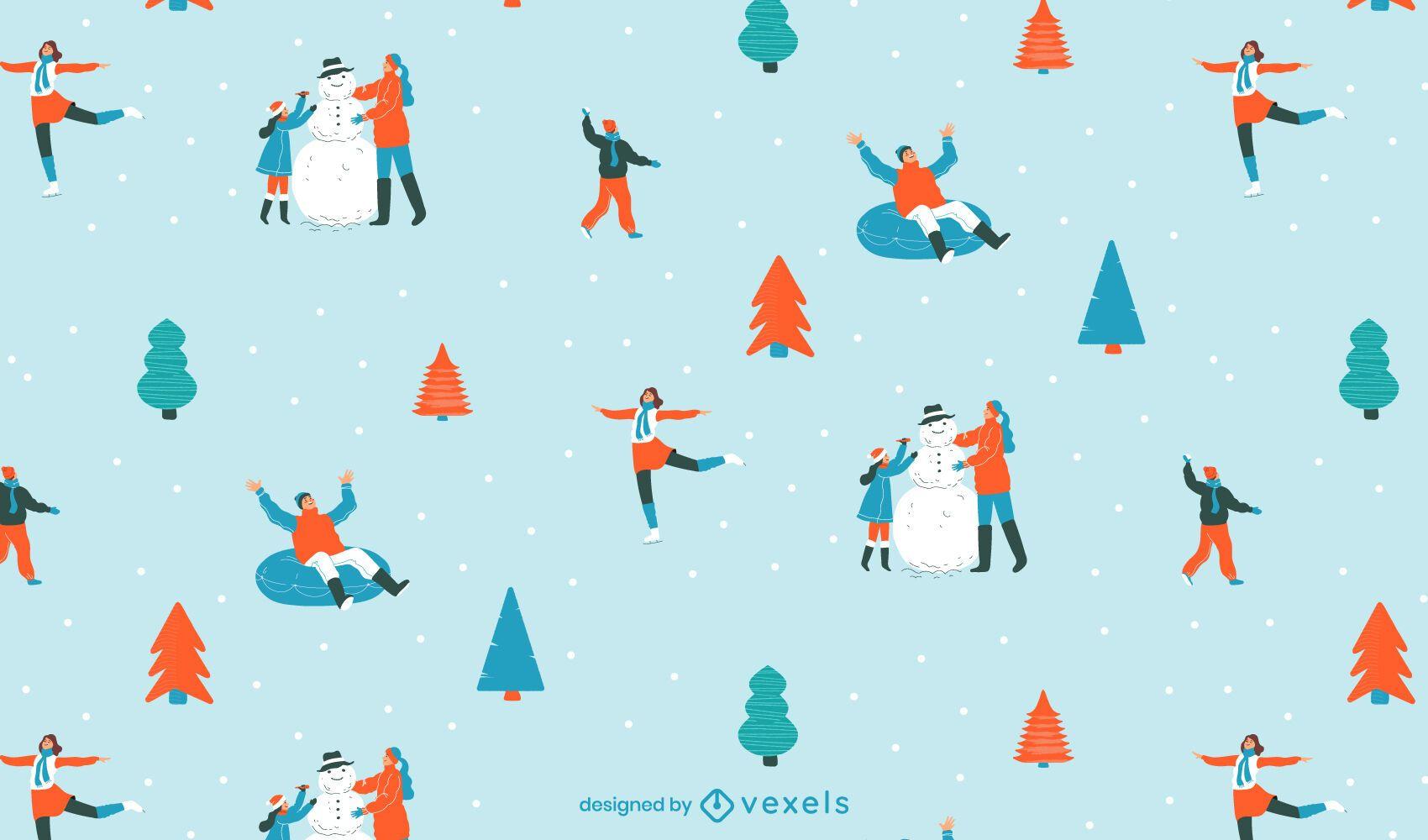 Diseño de patrón de patinaje sobre hielo navideño