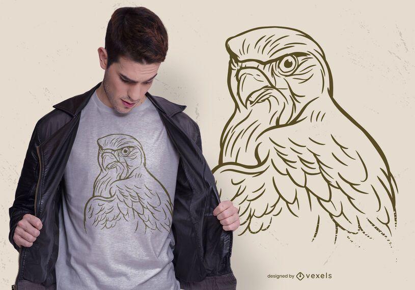 Desenho de t-shirt de águia desenhado à mão