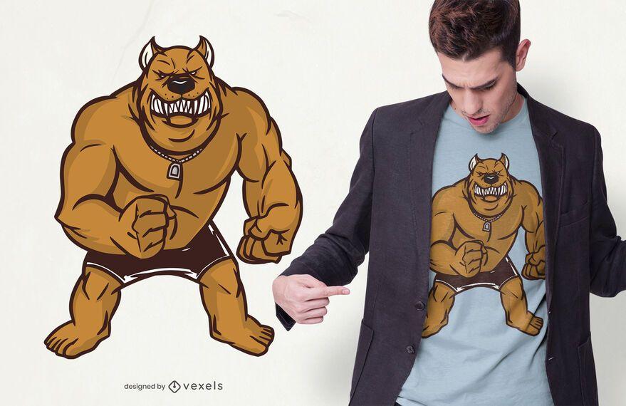 Design de camiseta pitbull forte e irritado