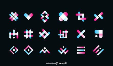 Conjunto de logotipo de gradiente geométrico
