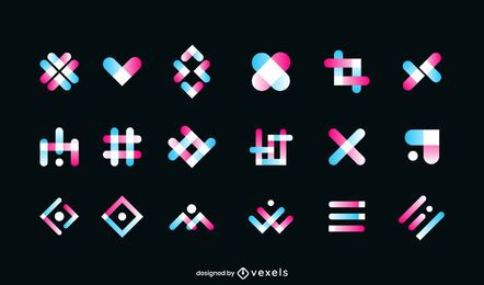 Geometric gradient logo set