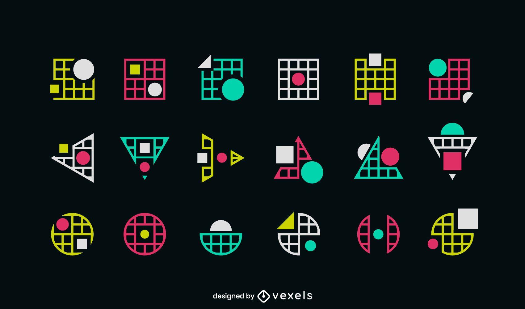 Conjunto de logotipo de formas geométricas