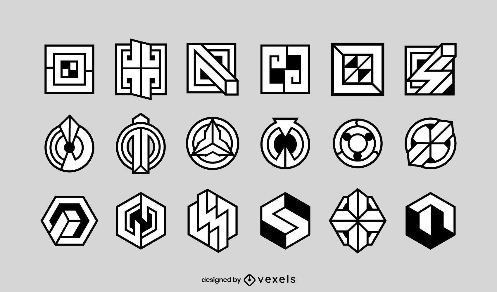 Geometrical shapes logo set