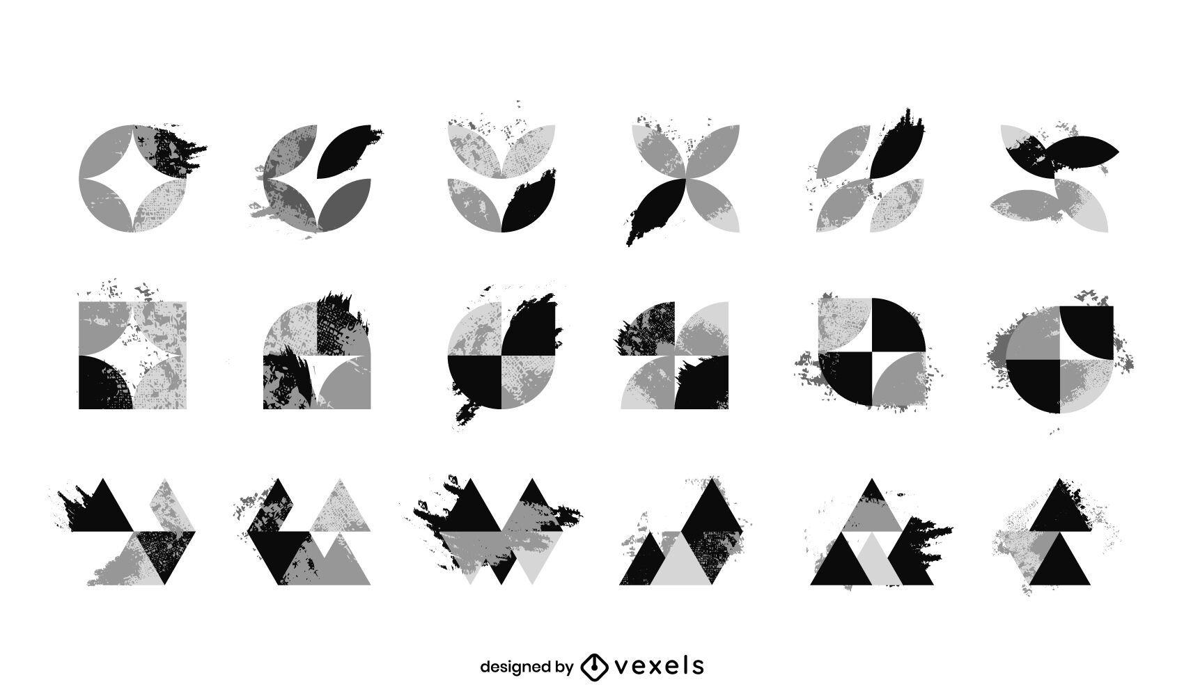 Conjunto de logotipo abstracto blanco y negro