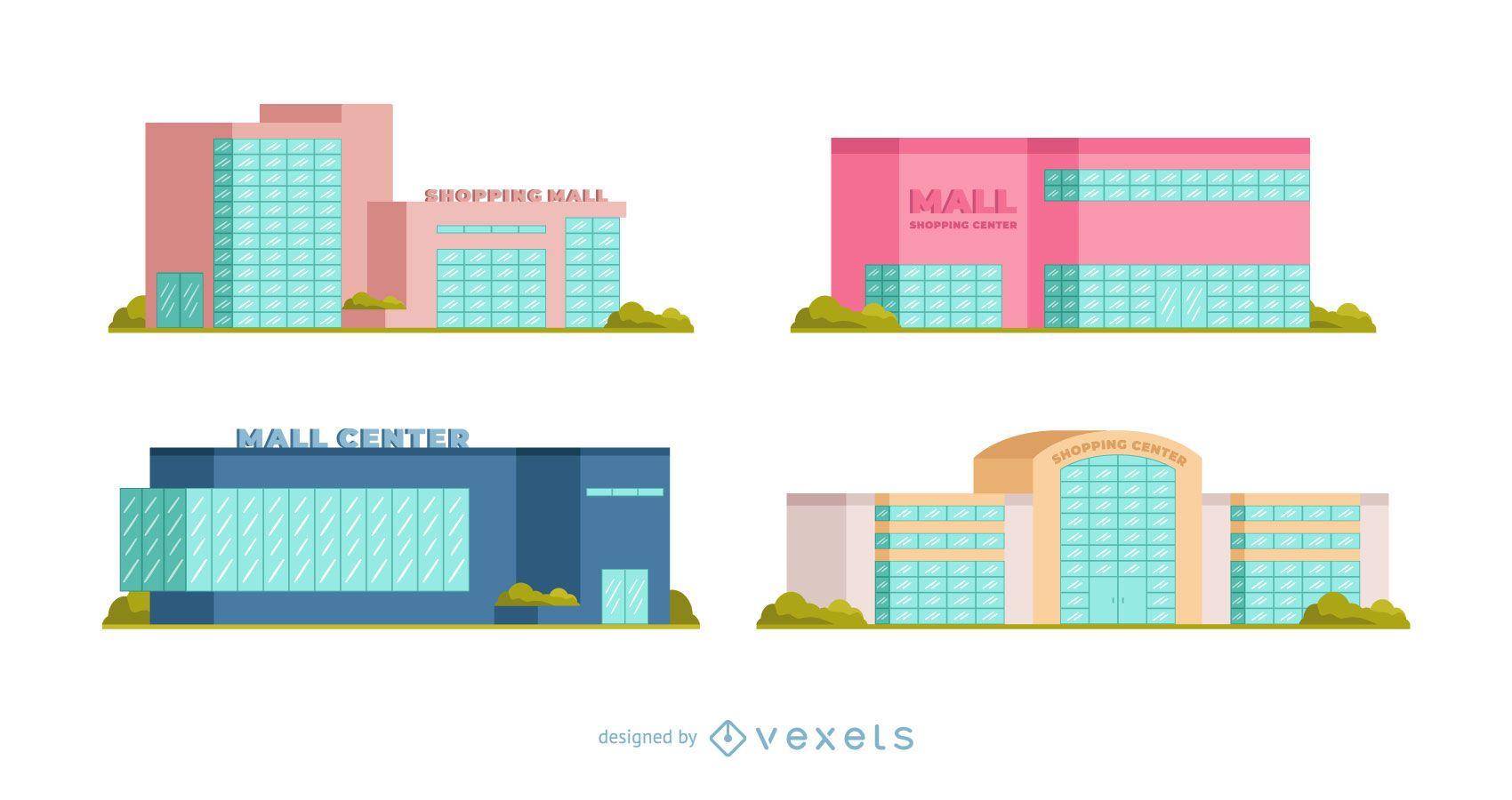 Conjunto plano de centro comercial