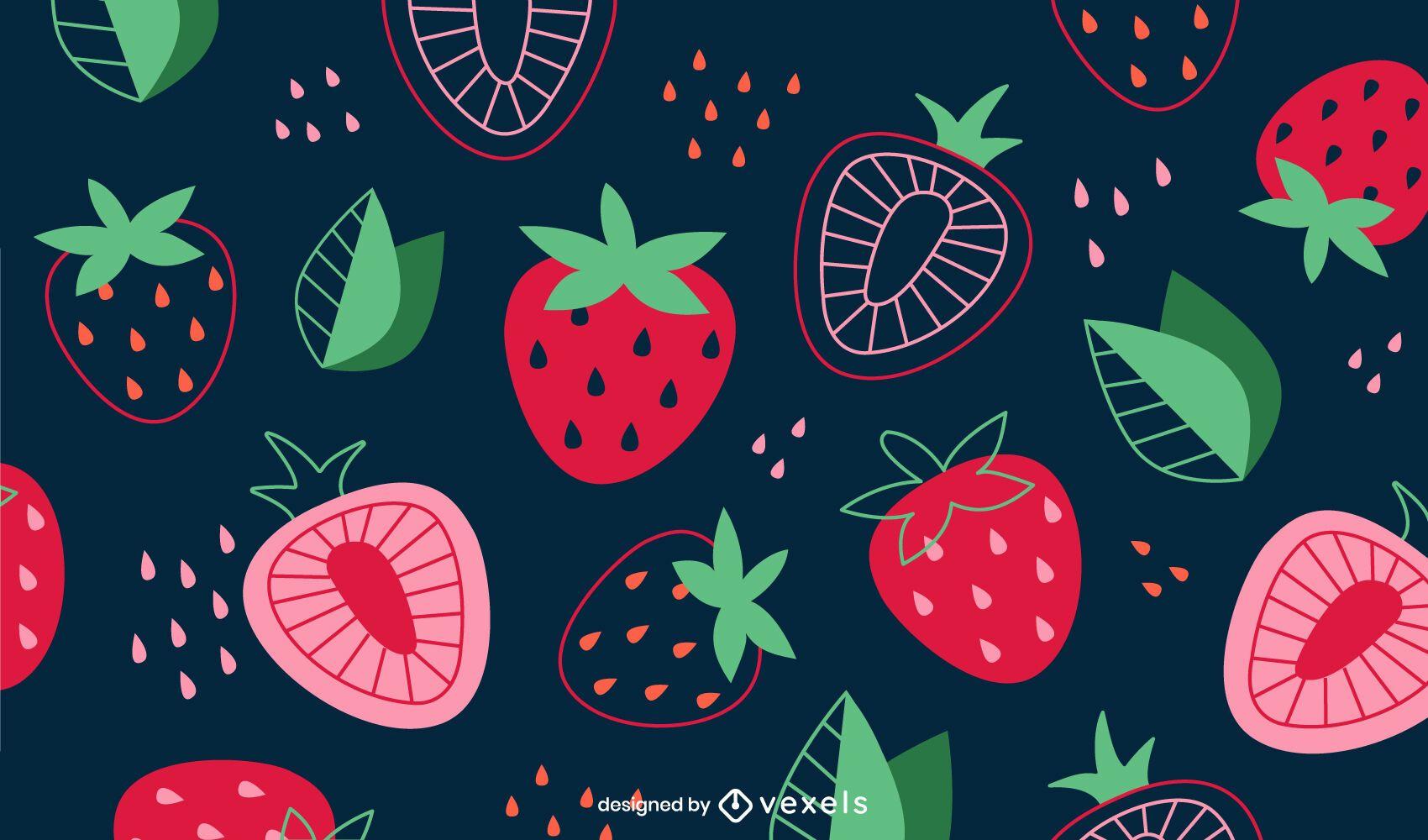 Desenho de fundo de morangos fatiados