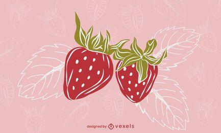 Desenho de ilustração de folhas de morango