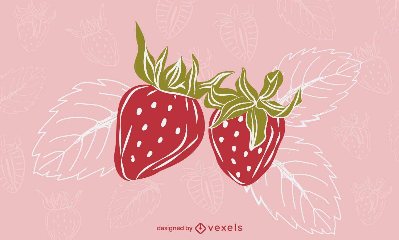 Strawberry leaves illustration design