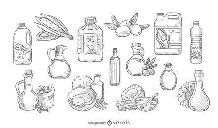 Conjunto de óleo de cozinha desenhado à mão