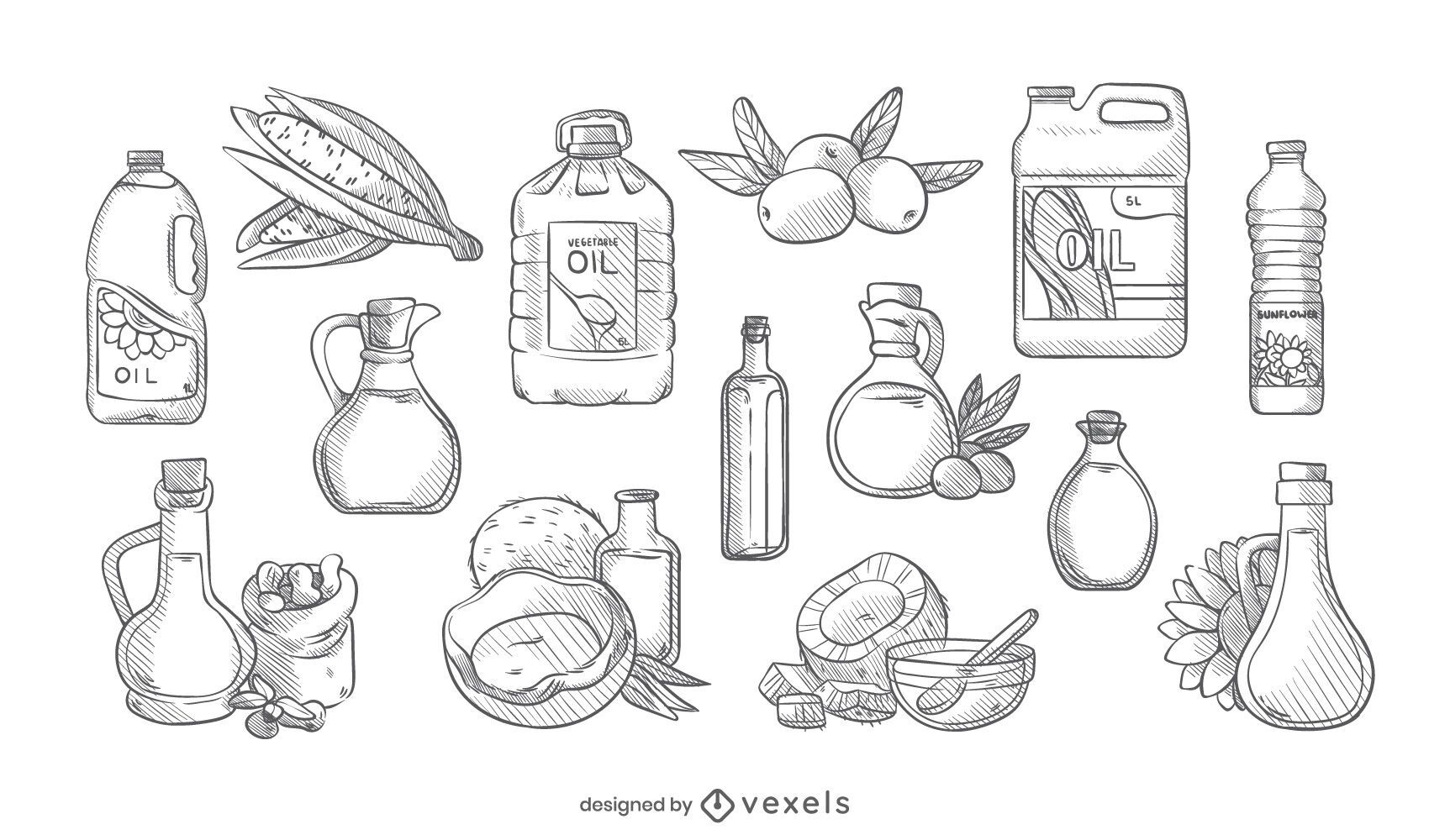 Cooking oil hand drawn set