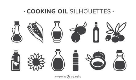 Cooking oil silhouette set