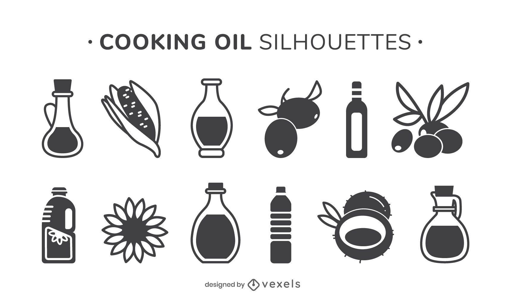 Conjunto de silueta de aceite de cocina