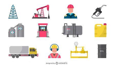 Conjunto de elementos planos de la industria petrolera