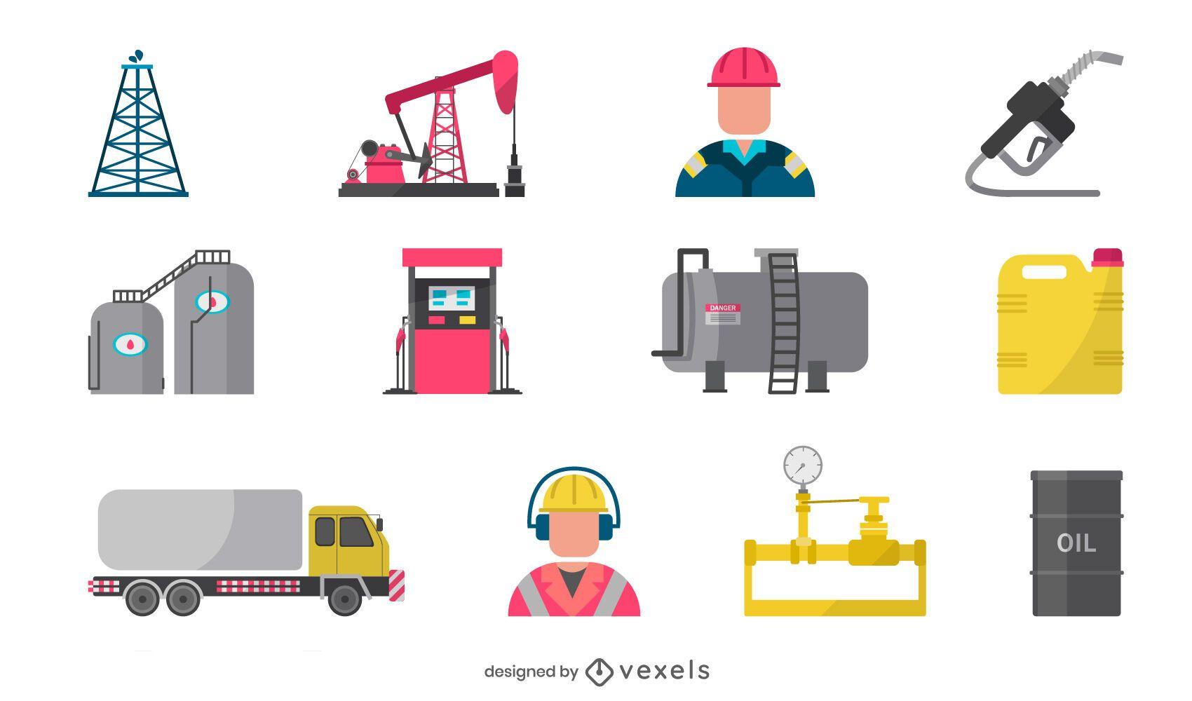 Oil industry flat elements set