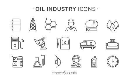 Iconos de trazo de la industria petrolera