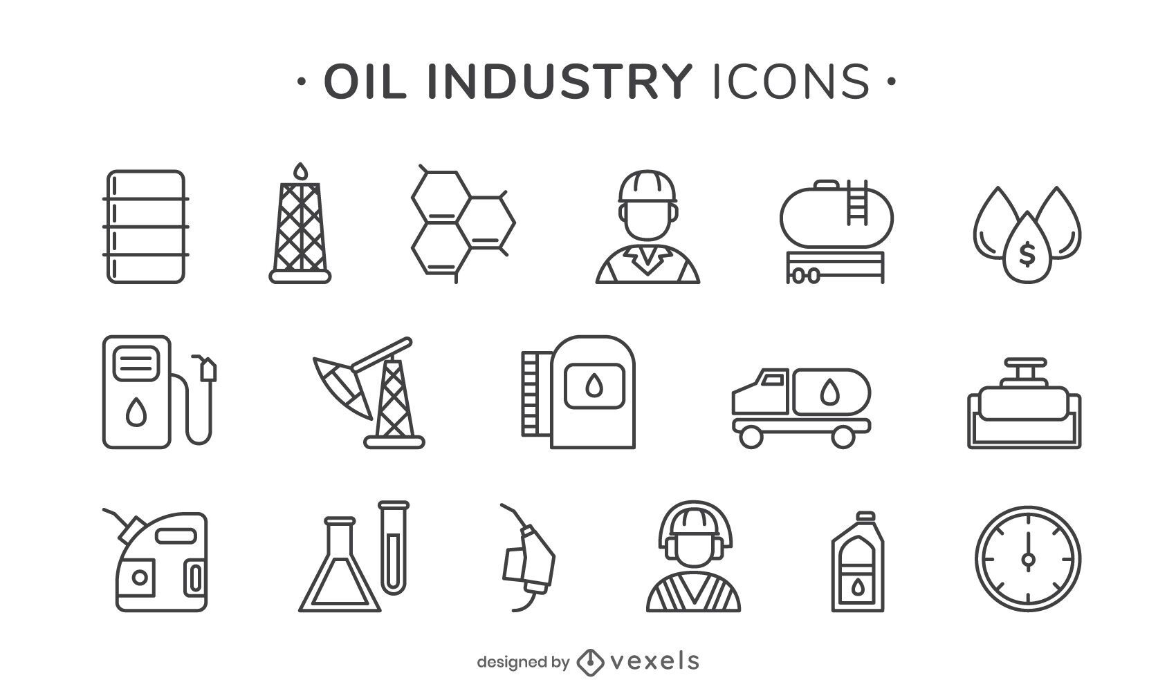Ícones de traços da indústria de petróleo