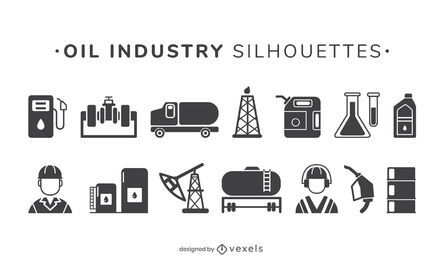 Conjunto de elementos da indústria de petróleo