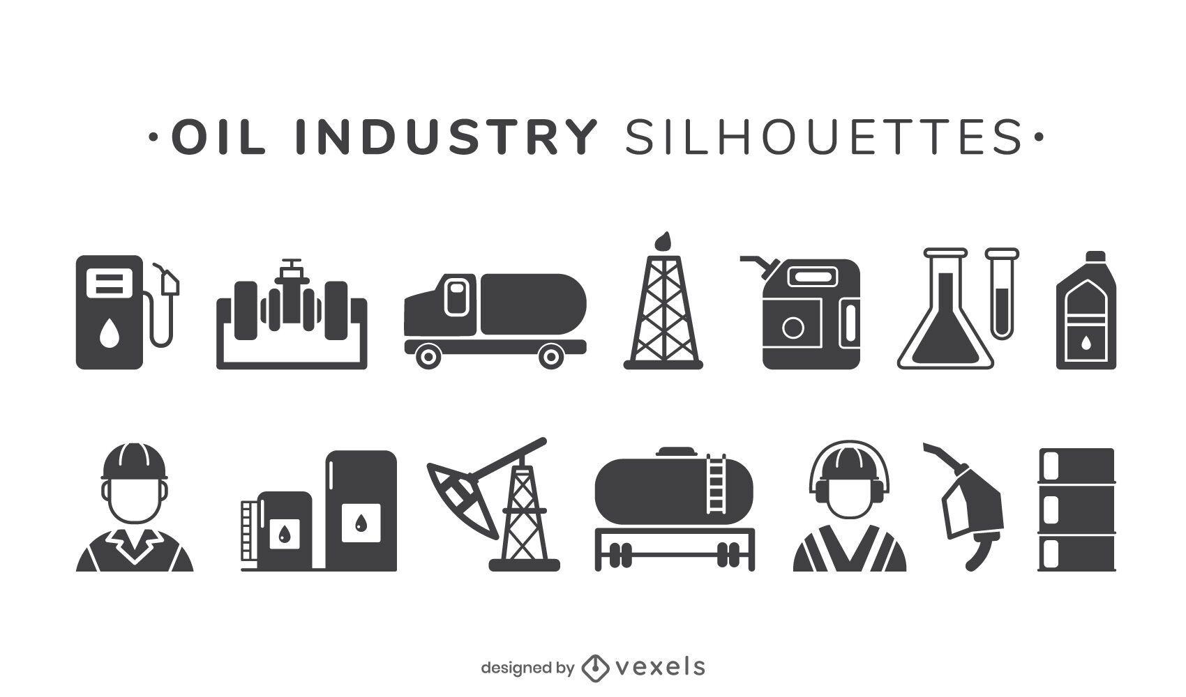 Oil industry elements set