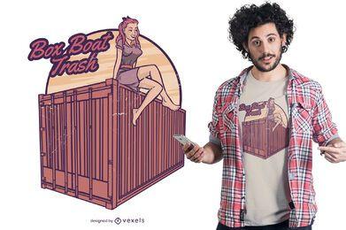 Pin-up Mädchen Container T-Shirt Design