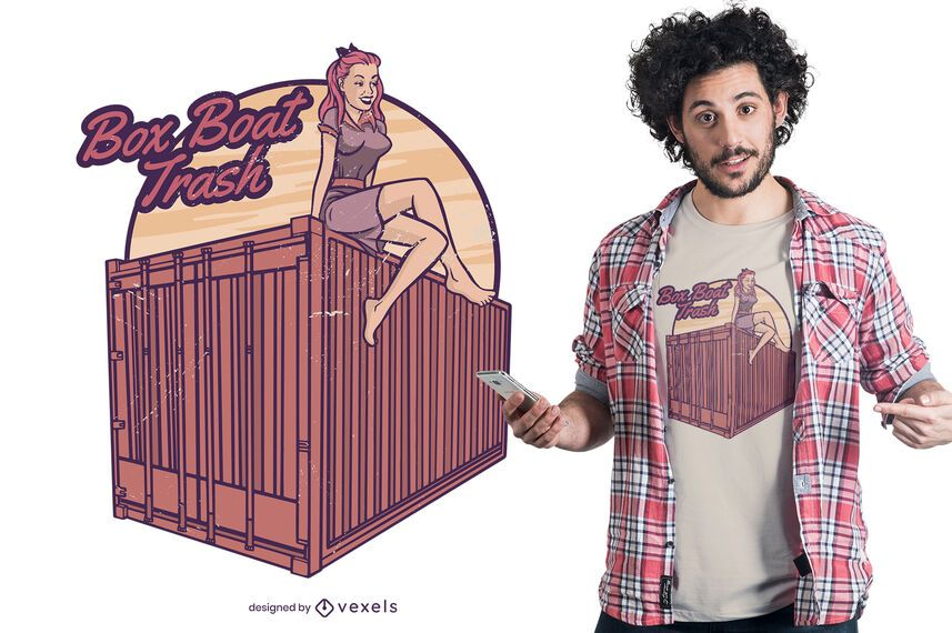 Diseño de camiseta de contenedor de chica pin-up