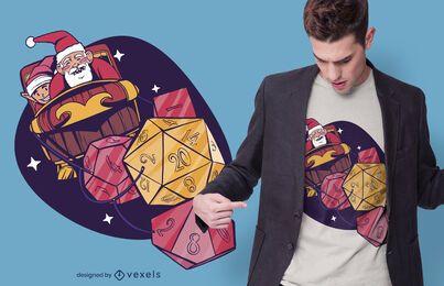 Design de camisetas de dados de papai noel