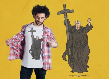 Diseño de camiseta Monk Illustration
